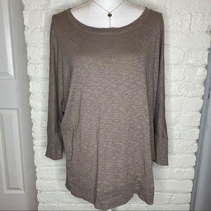 Cynthia Rowley Marled Brown Dolman Sleeve Top XL